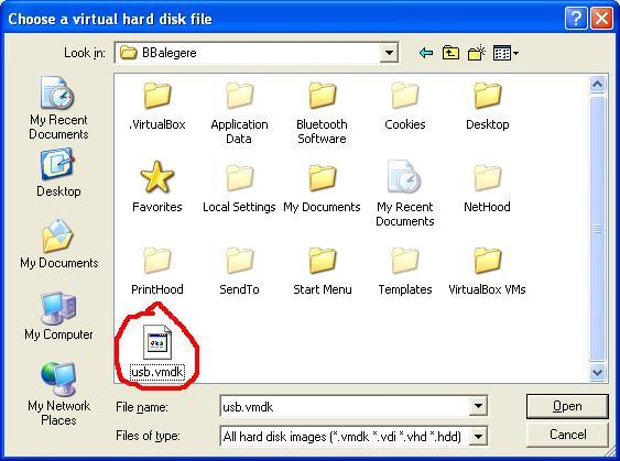 vmdkfile Boot your USB Drive in VirtualBox